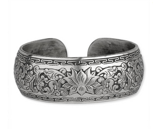 Wide Carved Lotus Muntz Cuff