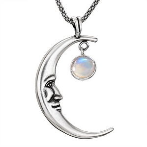 Waning Crescent Moon Stone Necklace
