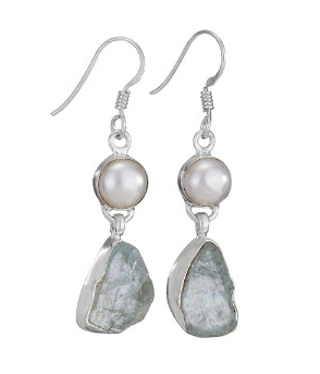 Rough Aquamarine Pearl Earrings