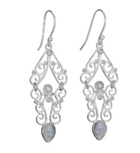Moonstone & Pearl Chandelier Scroll Earrings