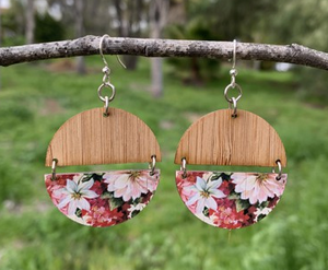 Floral Half Circles Bamboo Earrings