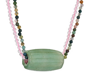Aventurine Tube Bead on Stone Beads