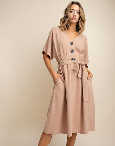 Linen Blend Bold Button Down Woven Dress