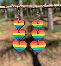 Load image into Gallery viewer, Rainbow Heart Dangling Earrings