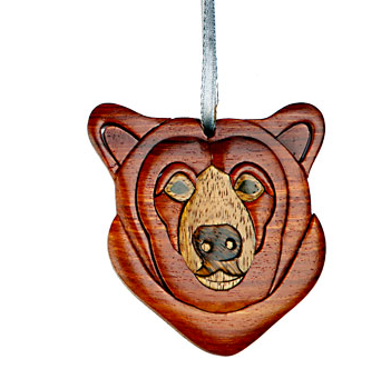 Bear head Wooden Ornament