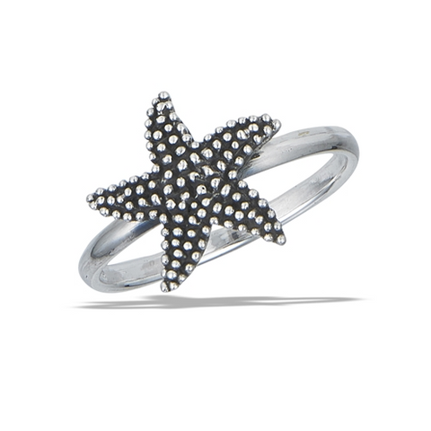 Sterling Silver Granulated Starfish Ring