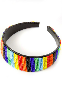 Kenyan Rainbow leather Headband