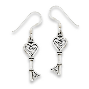 Sterling Silver Celtic Key With Triquetras Dangle Earring