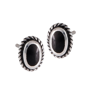 Onyx Oval and Rope Setting Stud Earrings