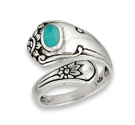 Silver Turquoise Spoon Ring