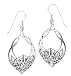Filagree Celtic Oval Dangle Earrings