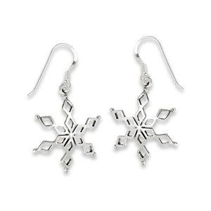 Simple Silver Snowflake Earrings