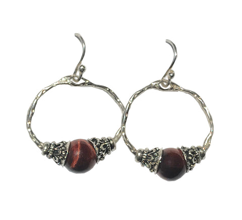 Tiger Eye Bali Hoop Earrings