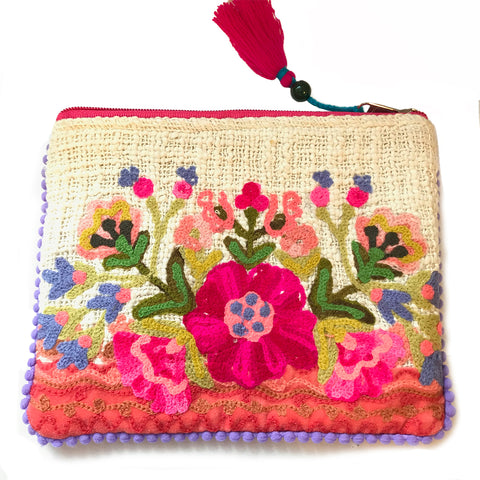 Natural Embroidered Flower Pouch