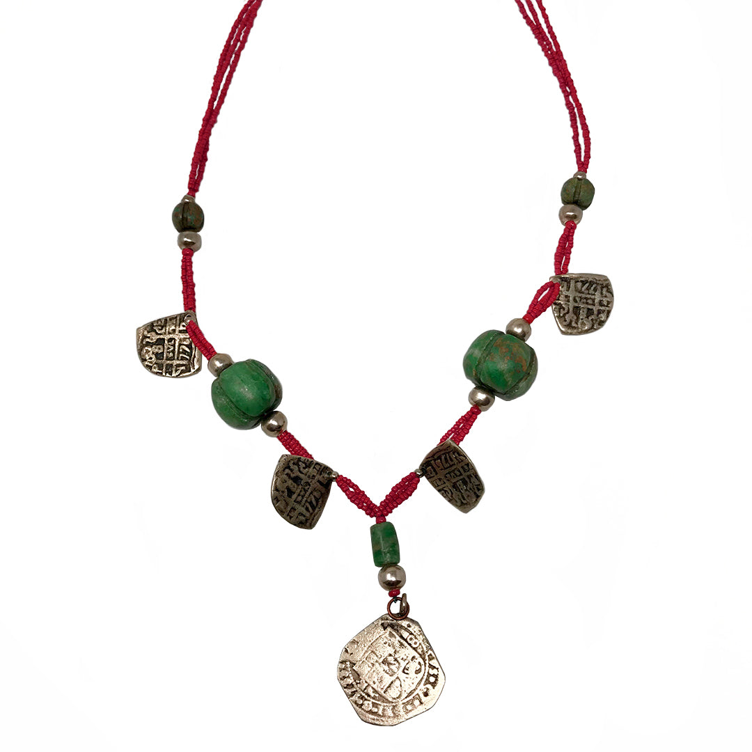 Triple Red Strand Jade & Silver Charms Pendant Necklace