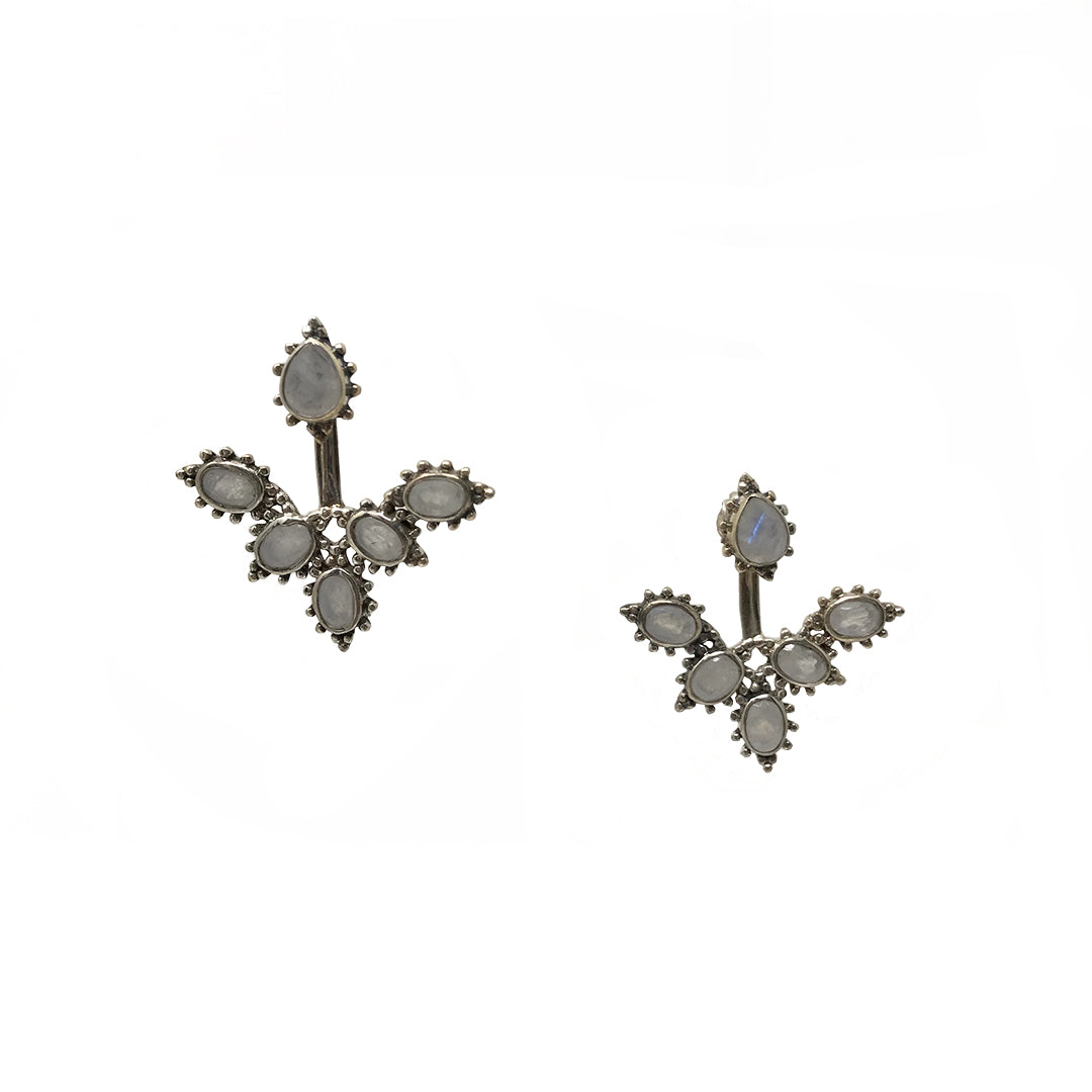 6 Stone Adjustable Bali Post Earrings