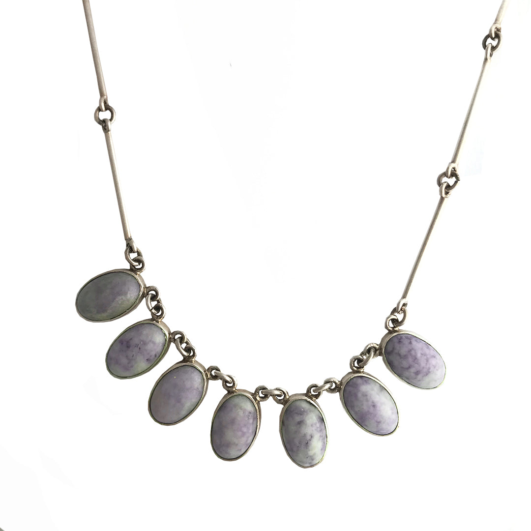 Lilac Jade Oval Necklace