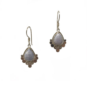 Lilac Jade Sterling Silver Bali Earrings