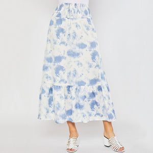 Satin Tie Dye Smocking Skirt