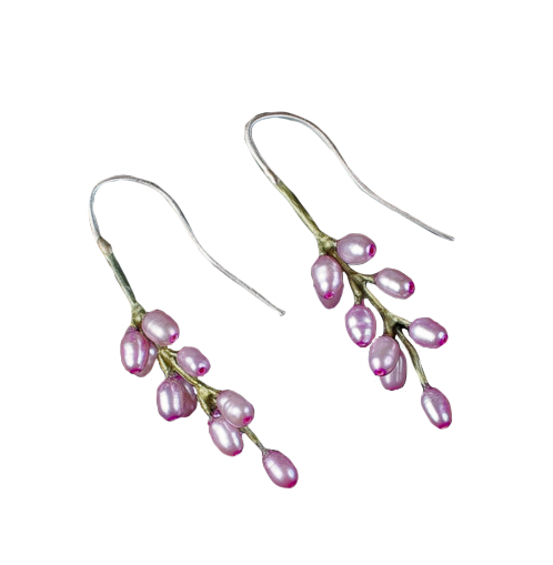 French Lavender Pearl Earrings