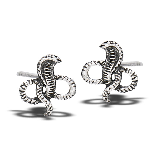 Sterling Silver Battling Cobras Stud Earring