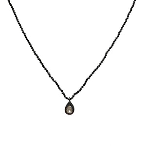 Beaded Raw Diamond Tear Drop Necklace