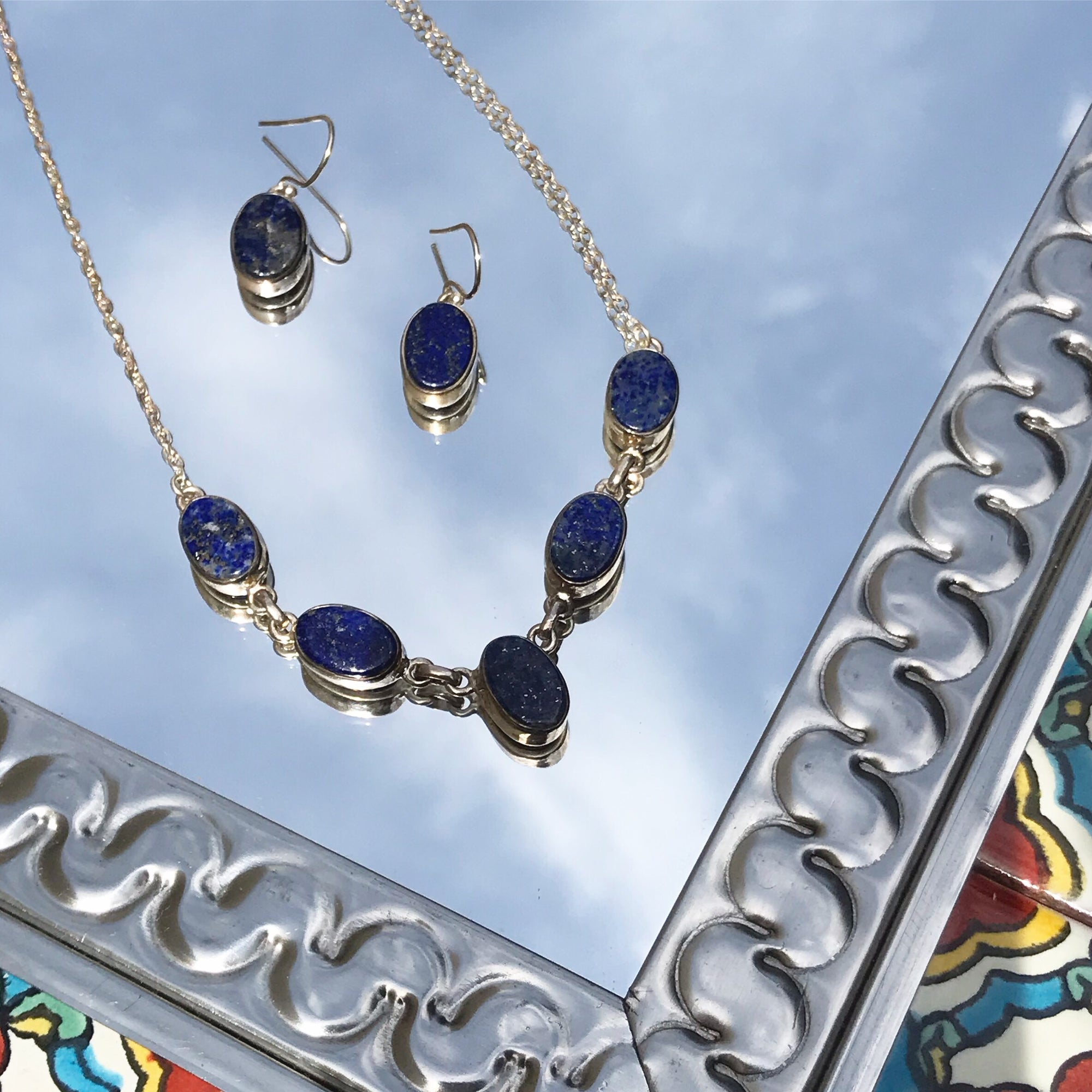 Lapis Lazuli Oval Silver Necklace