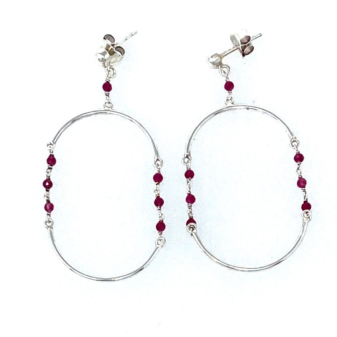 Oval Ruby Post Earrings