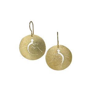 Round Silver And Copper Brush Quetzal Cutout Earrings