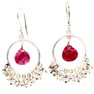 Chandelier Hoop Assorted Gemstone Earrings