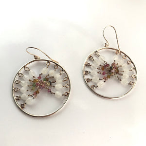 Forward facing Silver Beaded Hoop Earrings