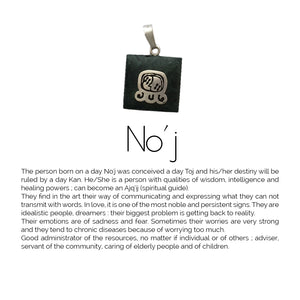 Square Jade Sterling Silver Maya Glyph Pendant