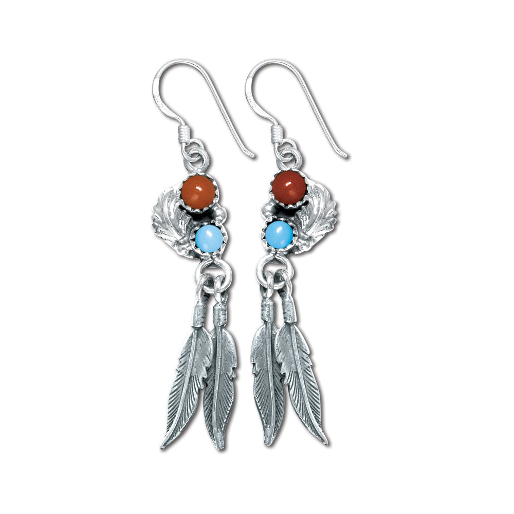 double feather Turquoise and Coral earrings