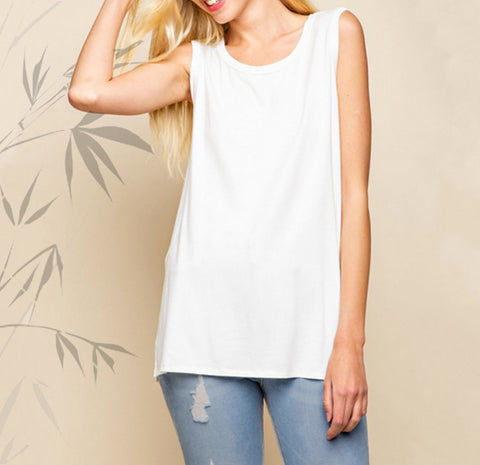 Bamboo Sleeveless Side Slitted Knit Top