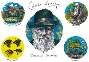 Charles Darwin Coloured Print Landscape