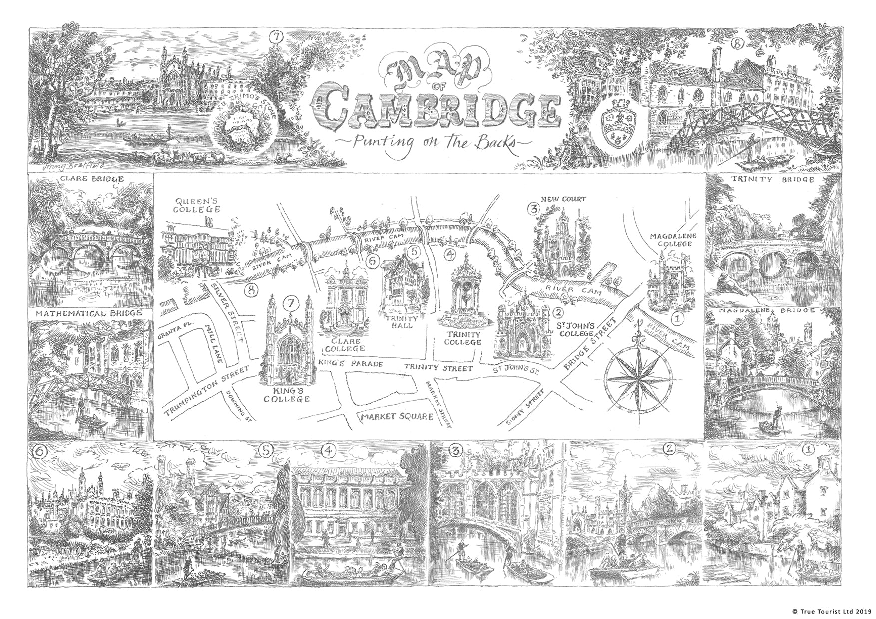 Punting on the Backs Cambridge Print