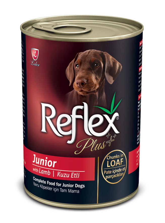 Reflex Plus Dog - Blik - JUNIOR met stukjes in saus - Lever en Lam - 400gr