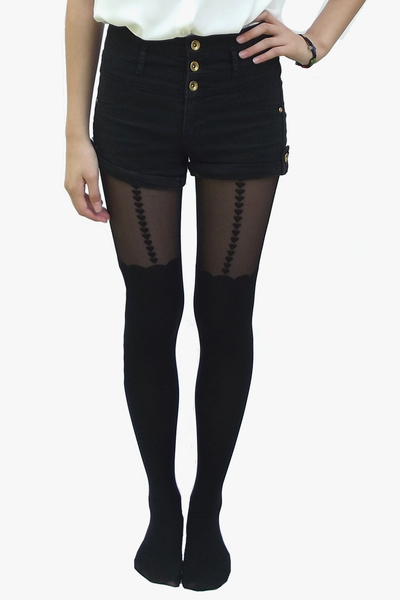 Scalloped Heart Tights