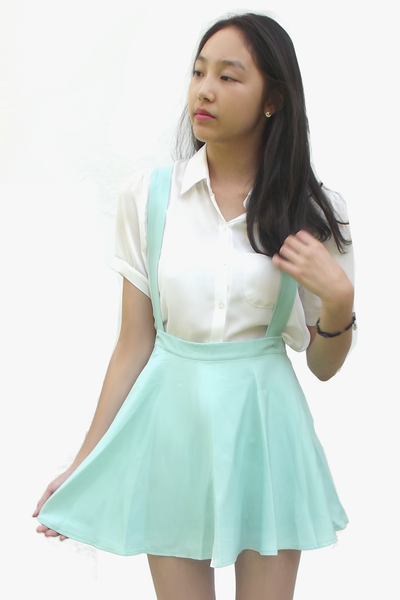 Pastel Blue Suspender Skirt