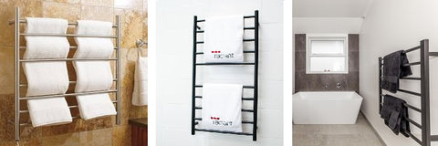 A selection of Heated Towel Rail Ladder designs in Chrome and Matte Black