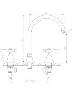 Cascade Spa Set Hob, C. Disc, Lever Diagram