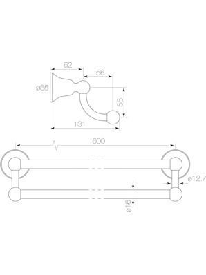 Faucet Strommen Cascade Double Towel Rail 600mm Diagram