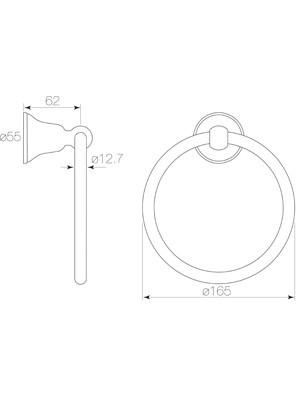 Cascade Towel Ring Diagram