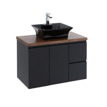 Fienza Black Finger Pull Wall Mounted Vanity