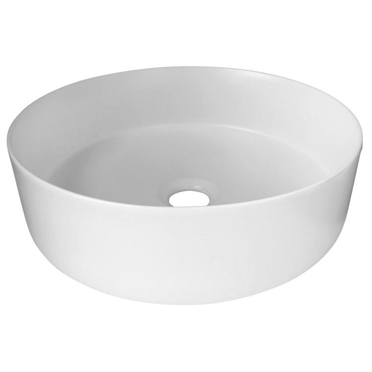 Siera Round Slimline Ceramic Above Counter Basin - Matt White