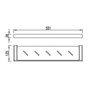Kudos Shelf with Drain Holes 55cm (Line Drawing)