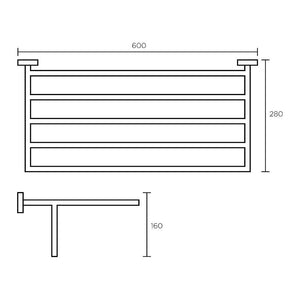 Plaza Towel Rack with Rail 60cm (Line Drawing)