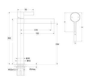 Martini Ritz Extended Basin Mixer (Line Drawing)