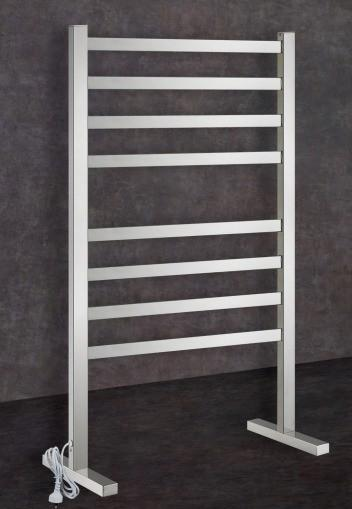 Thermorail Free Standing Heated Towel Rail Square 8 Bar with Plug