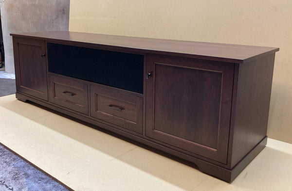custom Horizon solid wood media console with panel and frame drawer fronts